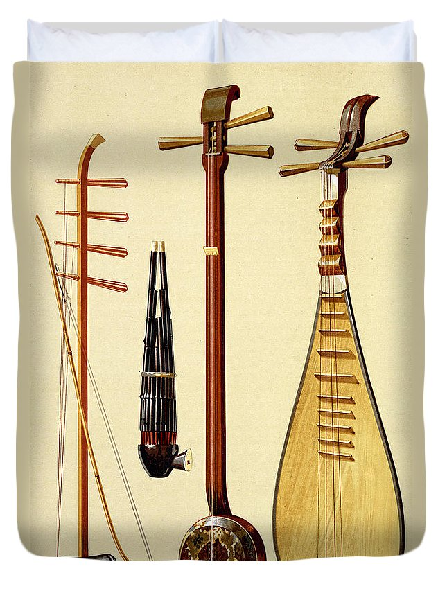 Hu-ch'in Duvet Cover featuring the drawing A Huqin And Bow, A Sheng, A Sanxian by Alfred James Hipkins