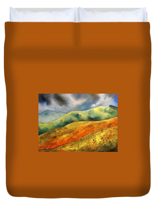 Framed 43 X 33 Inches. Price Includes Frame Duvet Cover featuring the painting A Journey To The Unknown by Isabelle Amante
