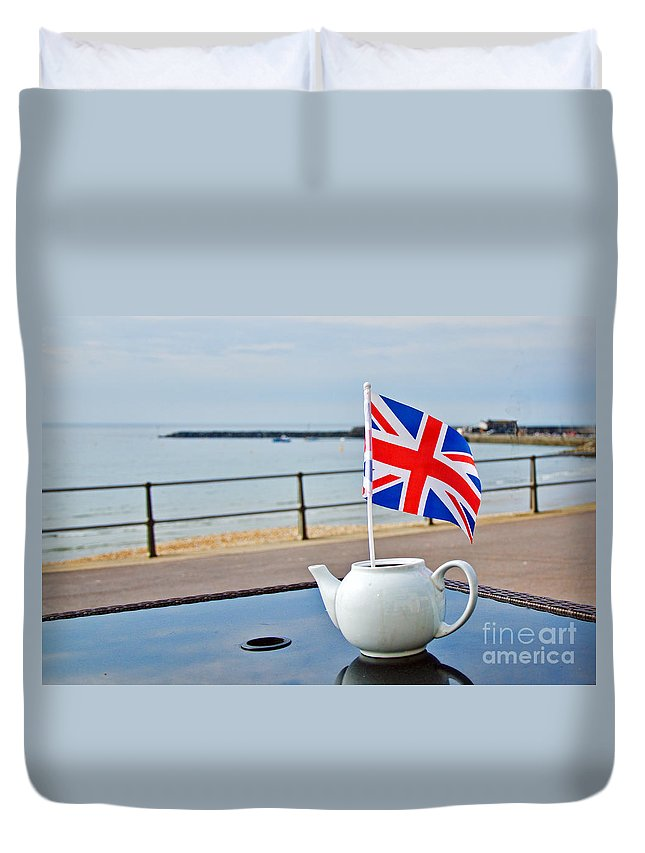 Lyme Regis Duvet Cover featuring the photograph A Jubilee Cuppa by Susie Peek