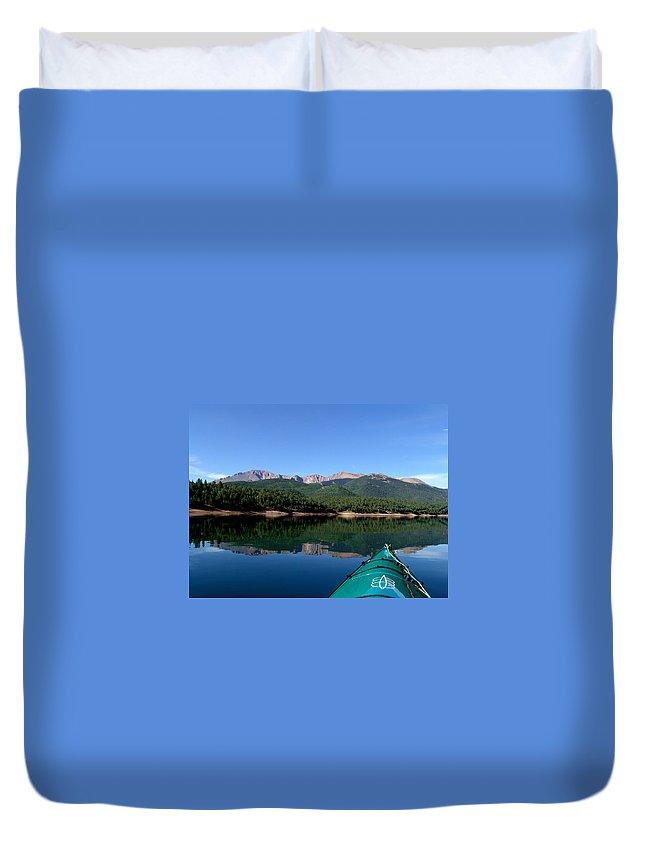 Pikes Peak Duvet Cover featuring the photograph A Kayaking Calm by Carol Milisen