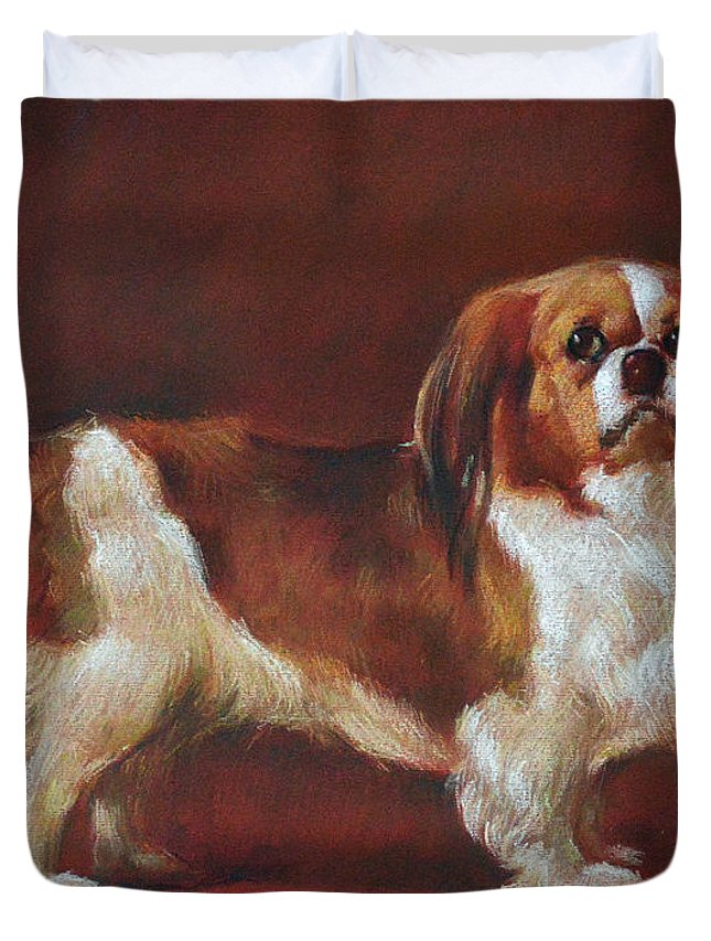 Pastel Duvet Cover featuring the painting A King Charles Spaniel by Iliyan Bozhanov