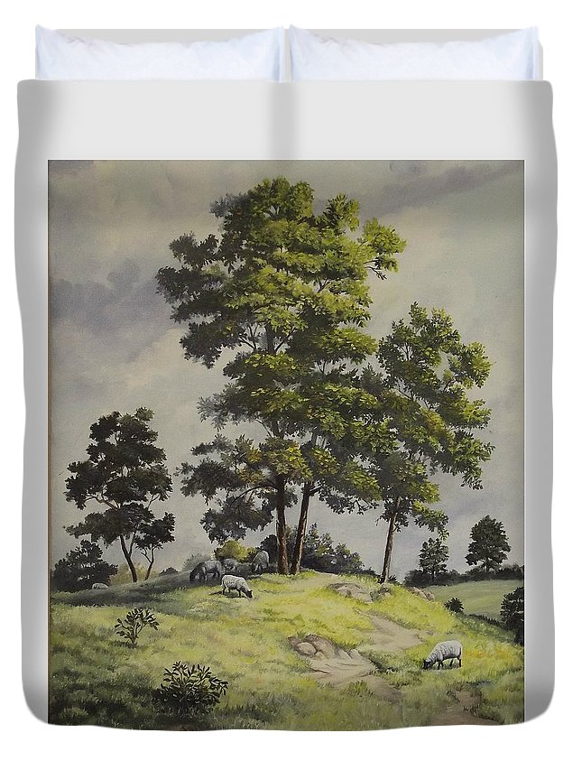 Landscape Duvet Cover featuring the painting A Lazy Day For Grazing by Wanda Dansereau
