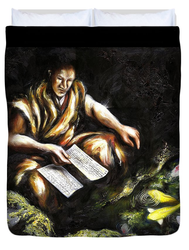 Japanesque Duvet Cover featuring the painting A Letter by Hiroko Sakai
