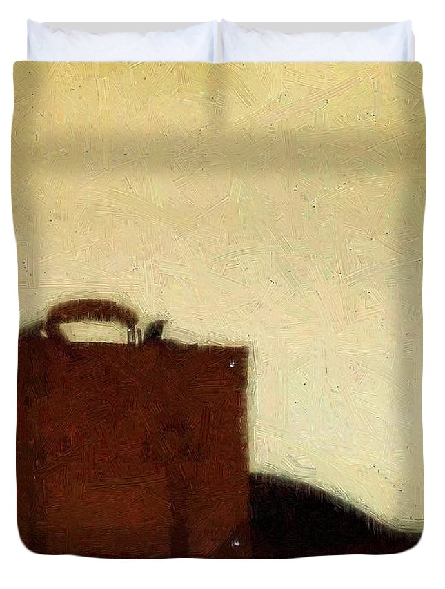 Briefcase Duvet Cover featuring the painting A Life In Brief by RC DeWinter