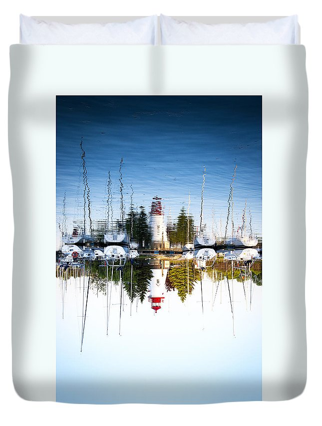 Marina Duvet Cover featuring the photograph A Lighthouse by Les Lorek