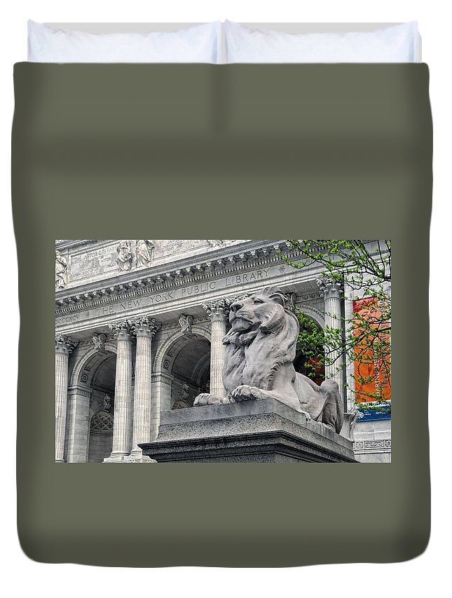The New York Public Library Duvet Cover featuring the photograph A Lion Called Fortitude by Dave Mills