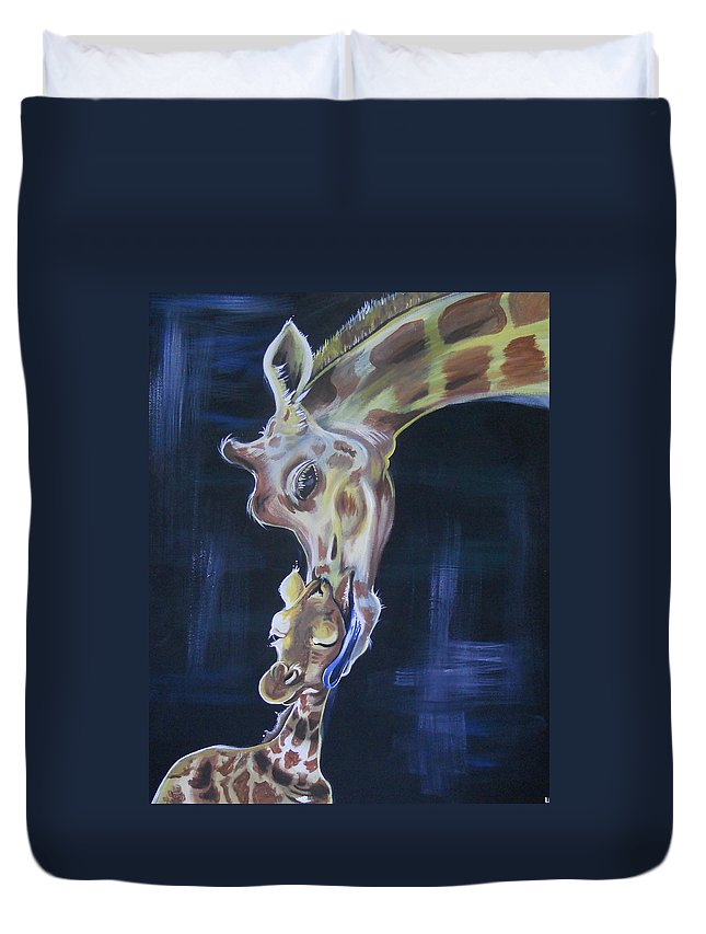 Giraffe Duvet Cover featuring the painting A Little Kiss by Lisa Leeman