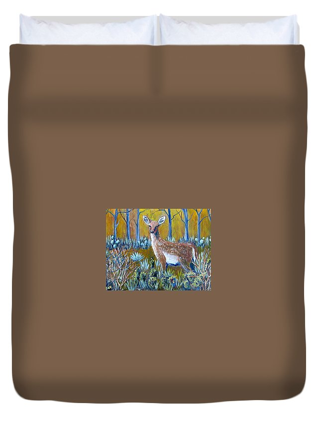 Landscape Duvet Cover featuring the painting A Little Rough Around The Edges by Suzanne Theis