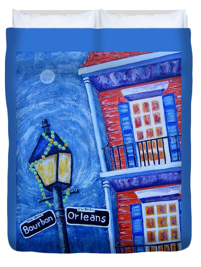 New Orleans Duvet Cover featuring the painting A Little Woozy by Suzanne Theis