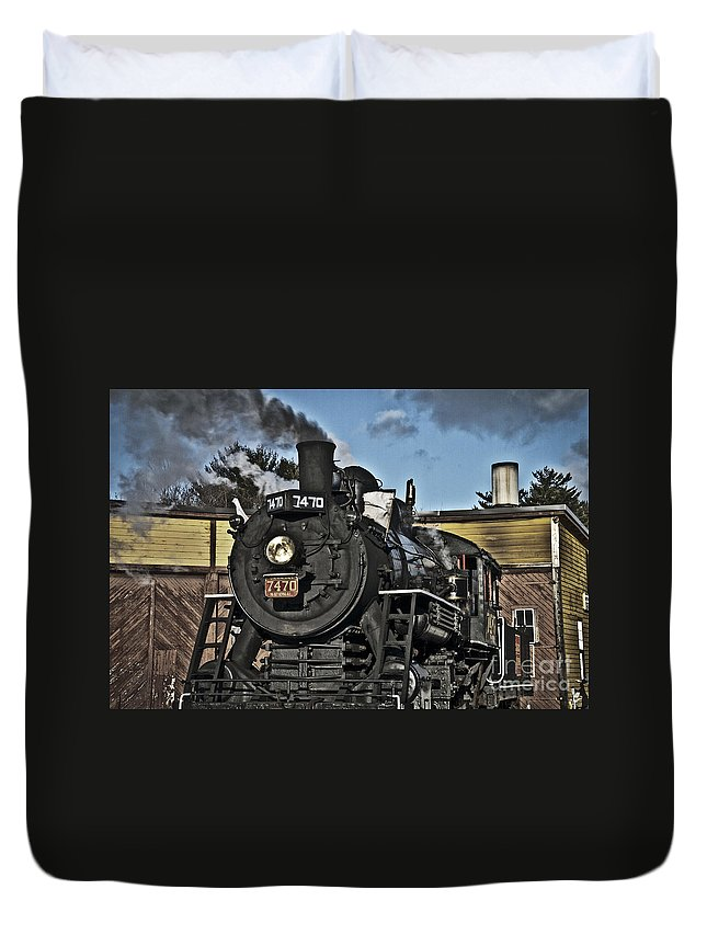 Steam Train Duvet Cover featuring the photograph A Long Haul by Alana Ranney
