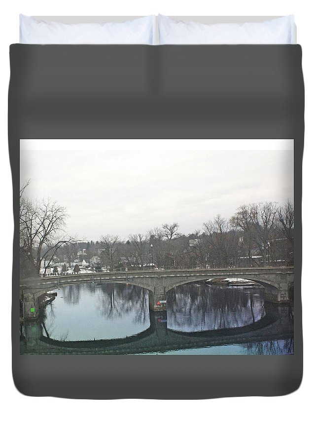 Reflective Duvet Cover featuring the photograph A Lovely Reflective Travel Scene by James Connor