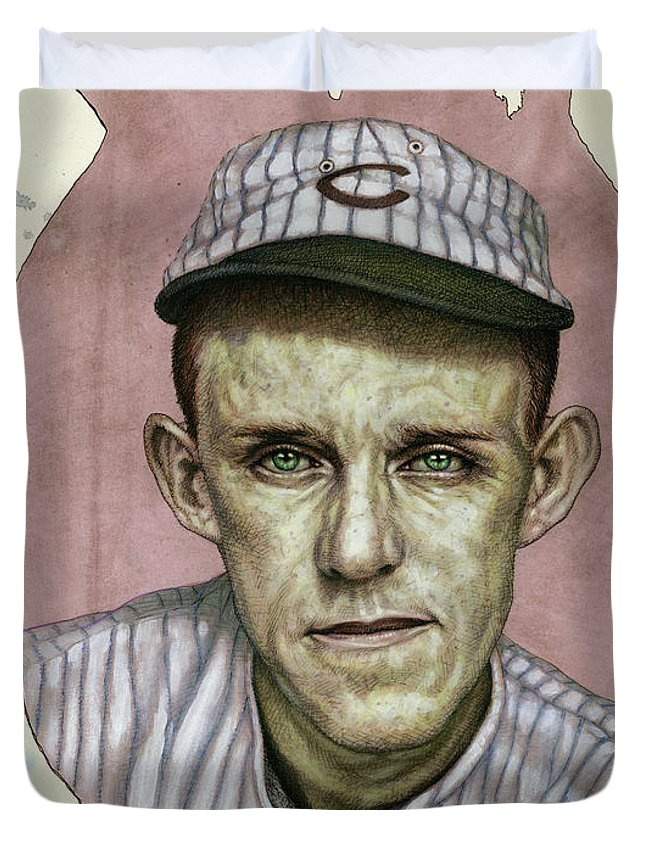 Baseball Duvet Cover featuring the painting A Man Who Used To Be A Player by James W Johnson