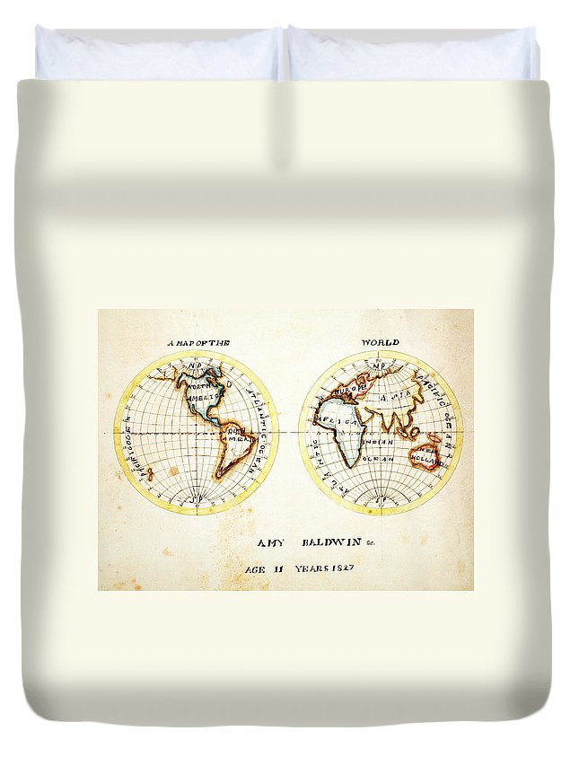 A Map Of The World Amy Baldwin Sc Duvet Cover featuring the painting A Map Of The World Amy Baldwin Sc by MotionAge Designs