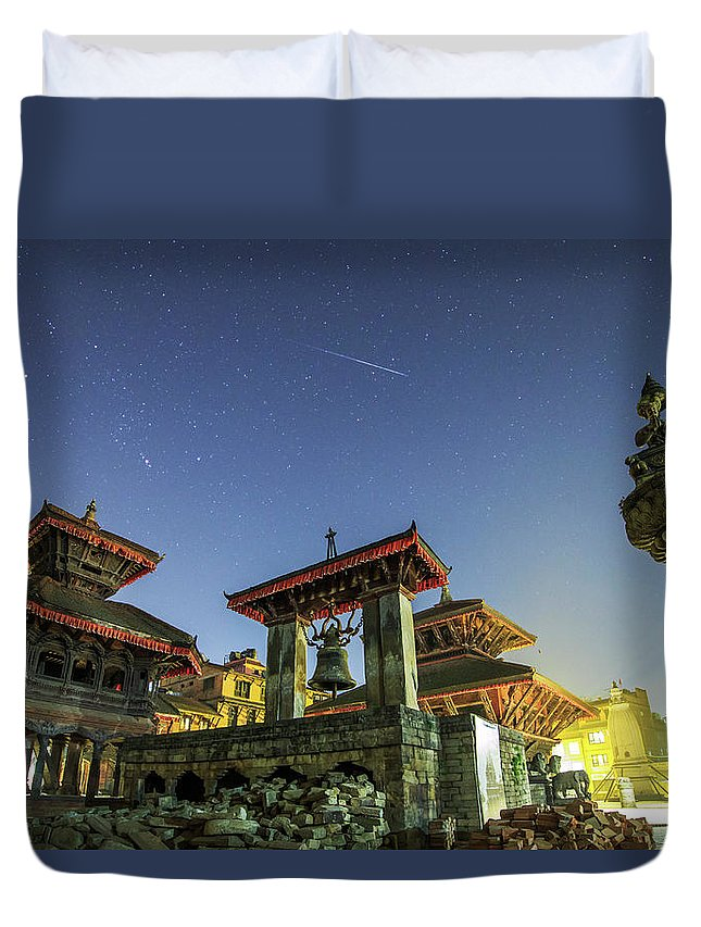 Horizontal Duvet Cover featuring the photograph A Meteor Streaks The Sky by Jeff Dai