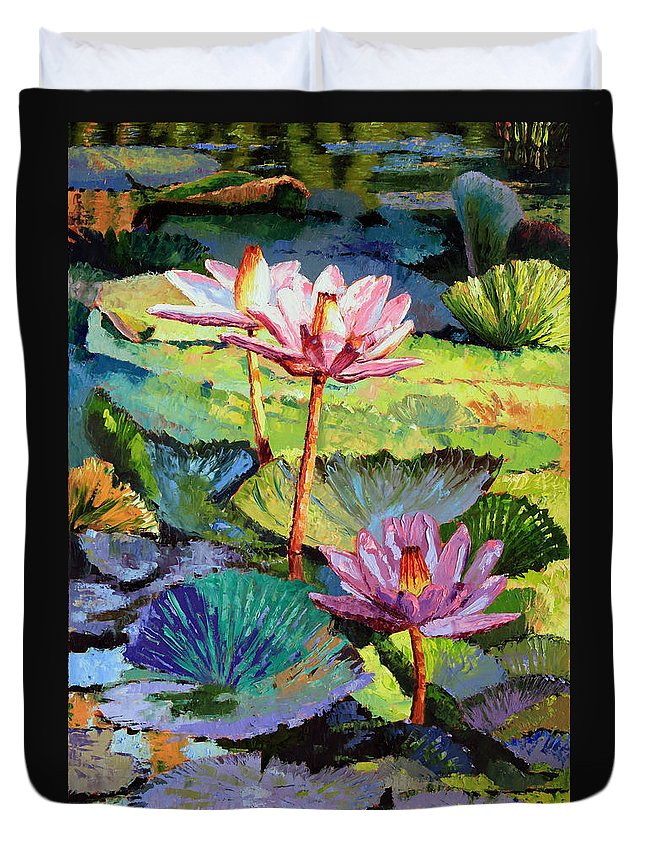 Water Lilies Duvet Cover featuring the painting A Moment In Sunlight by John Lautermilch