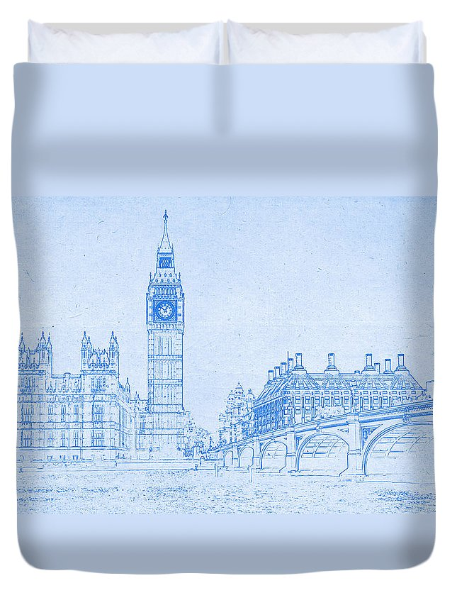 Big ben in london blueprint drawing duvet cover for sale by big ben in london blueprint drawing duvet cover featuring the digital art big ben in malvernweather Choice Image