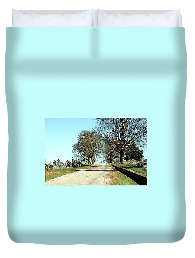 Cemetery Duvet Cover featuring the photograph A Narrow Walk by Joseph Yarbrough