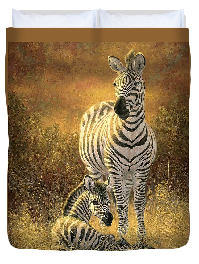 Burchell's Zebra Duvet Cover featuring the painting A New Day by Lucie Bilodeau