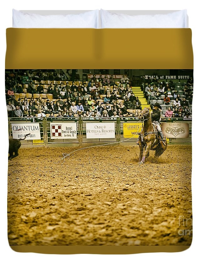 Night Duvet Cover featuring the photograph A Night At The Rodeo V15 by Douglas Barnard
