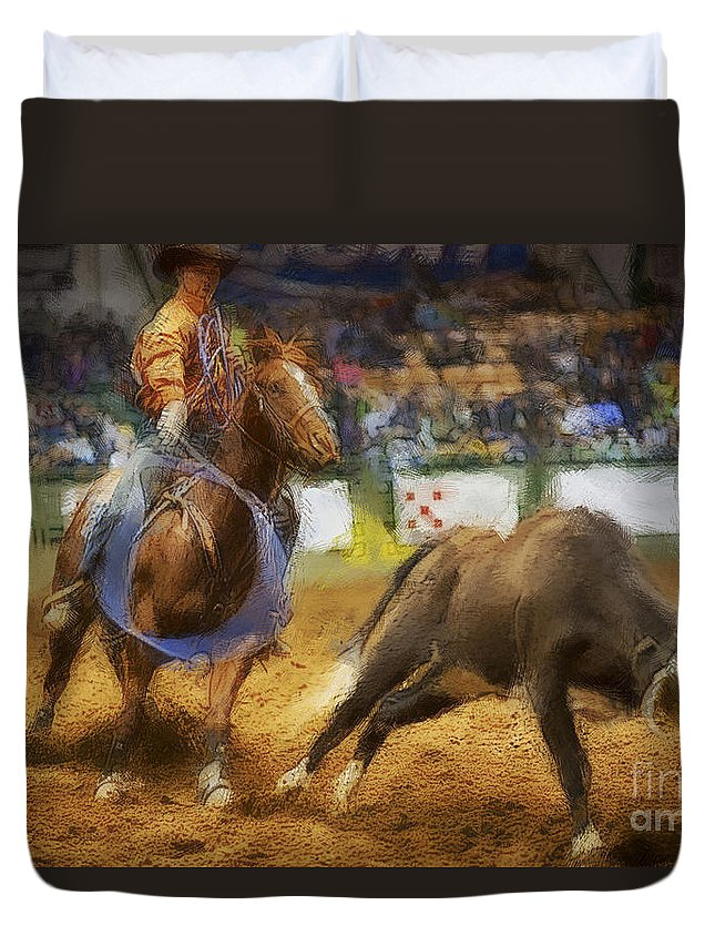 Night Duvet Cover featuring the photograph A Night At The Rodeo V18 by Douglas Barnard