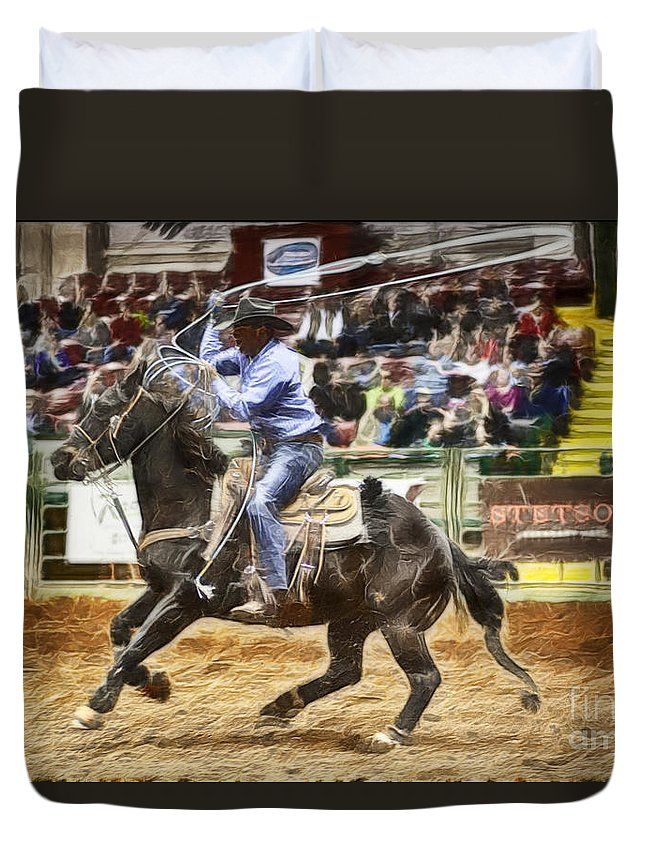 Night Duvet Cover featuring the photograph A Night At The Rodeo V19 by Douglas Barnard