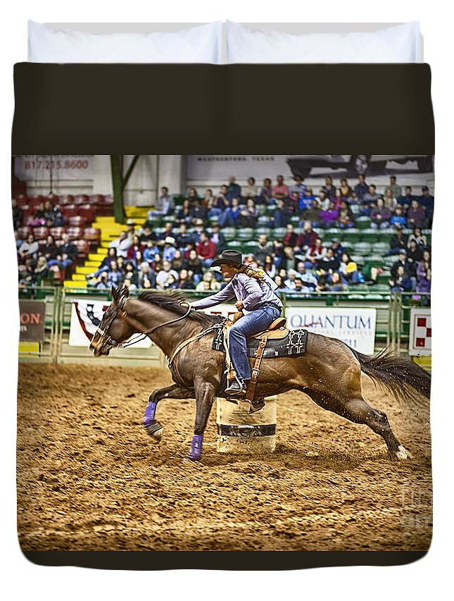 Night Duvet Cover featuring the photograph A Night At The Rodeo V28 by Douglas Barnard