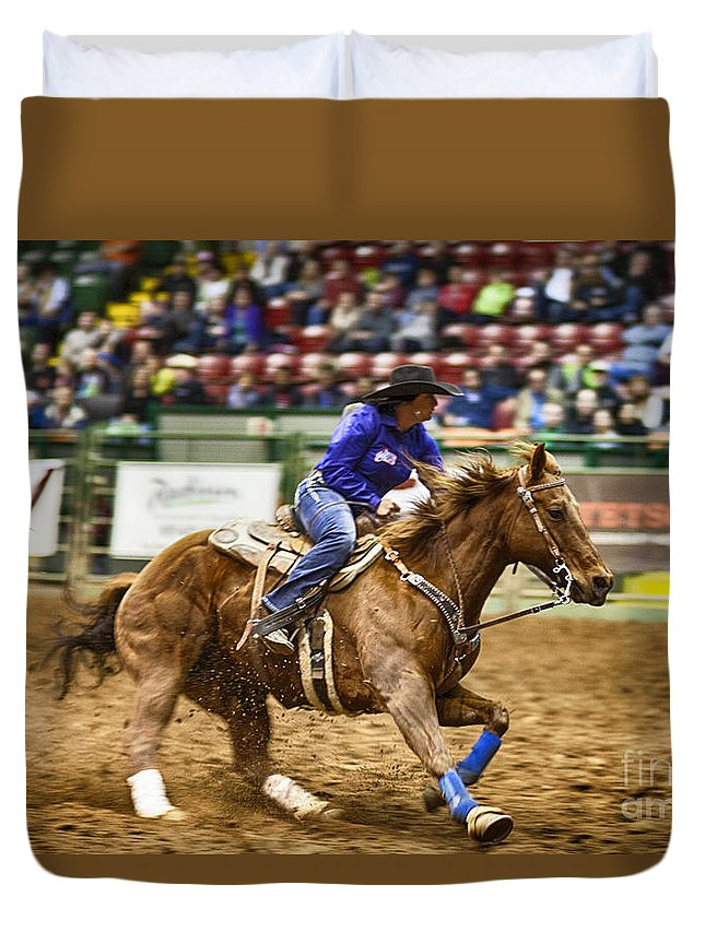 Night Duvet Cover featuring the photograph A Night At The Rodeo V30 by Douglas Barnard