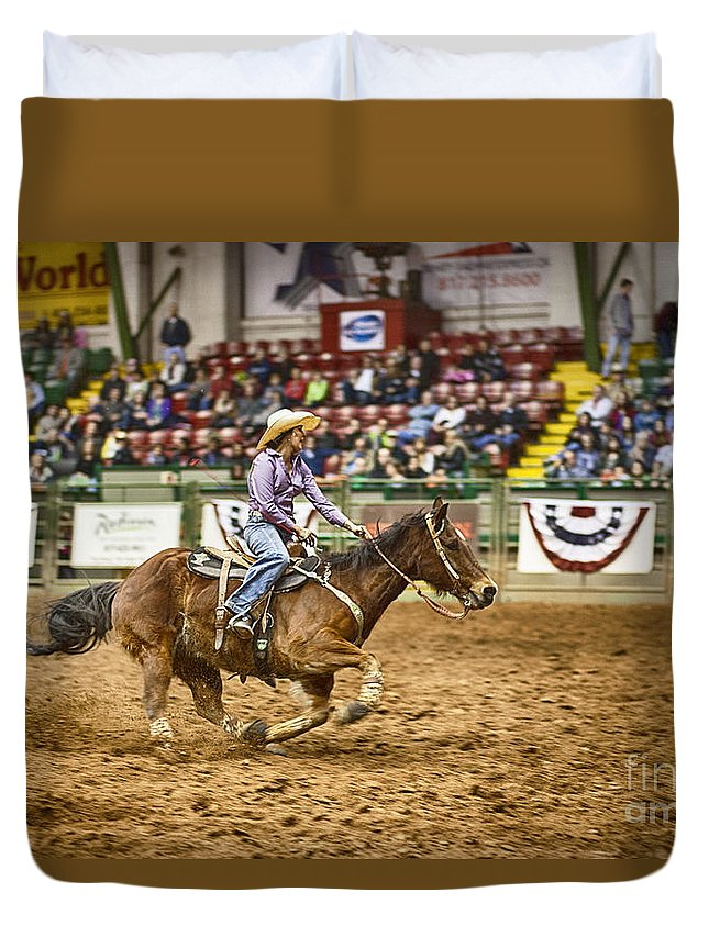 Night Duvet Cover featuring the photograph A Night At The Rodeo V31 by Douglas Barnard