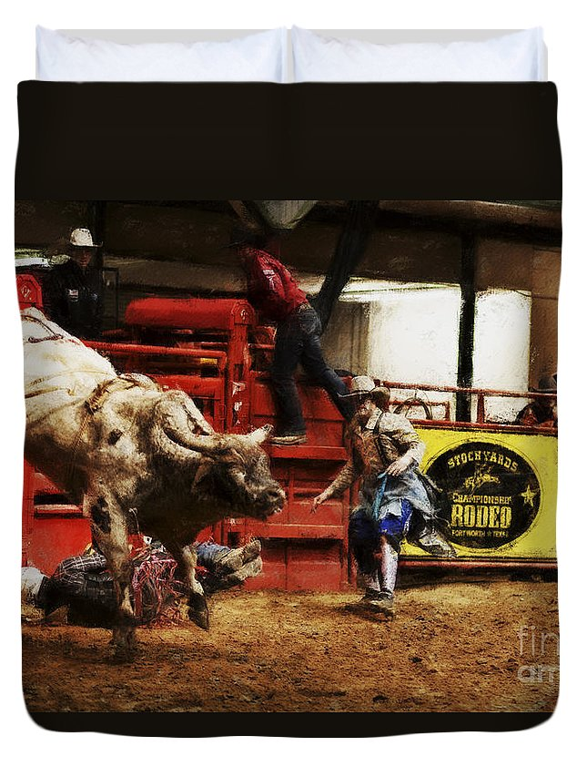 Night Duvet Cover featuring the photograph A Night At The Rodeo V38 by Douglas Barnard