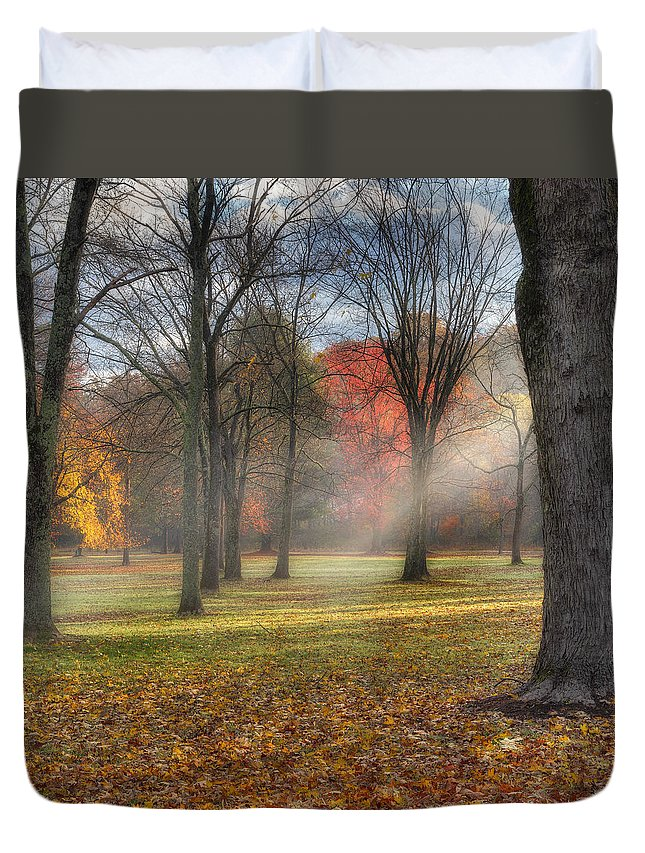Sun Rays Duvet Cover featuring the photograph A November Morning Square by Bill Wakeley