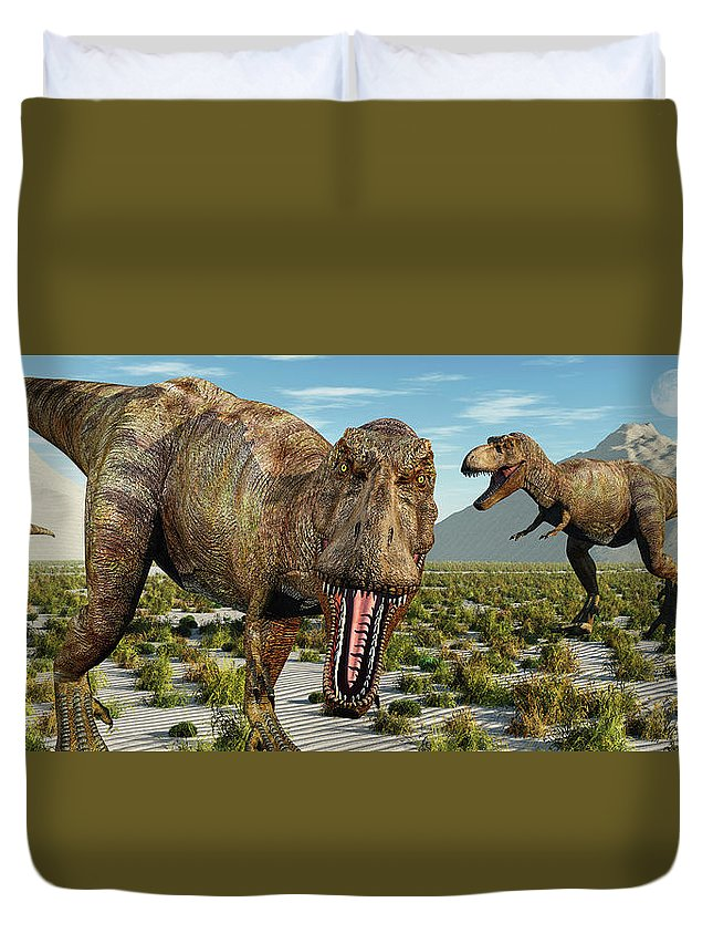 Horizontal Duvet Cover featuring the photograph A Pack Of Tyrannosaurus Rex Dinosaurs by Mark Stevenson