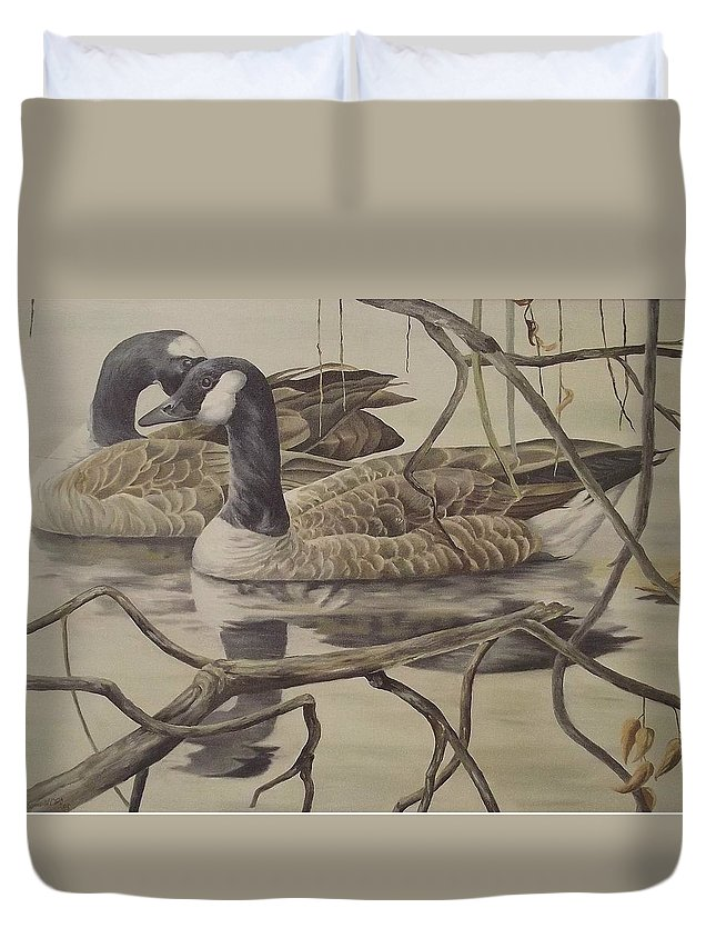Water Duvet Cover featuring the painting A Pair Of Ducks by Wanda Dansereau