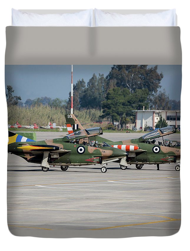 Greece Duvet Cover featuring the photograph A Pair Of Hellenic Air Force T-2 by Timm Ziegenthaler