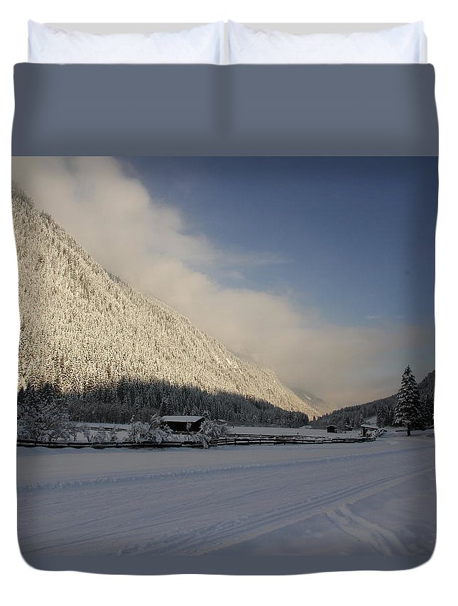 Snow Duvet Cover featuring the photograph A Peaceful Snow Landsscape by Christiane Schulze Art And Photography