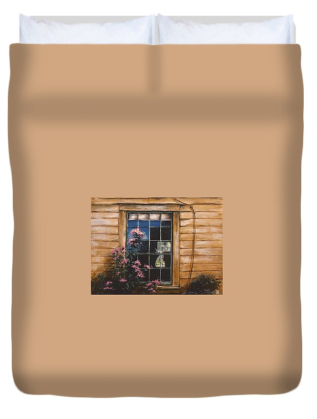 Prairie Duvet Cover featuring the painting A Peek Through The Window by Diane Strain