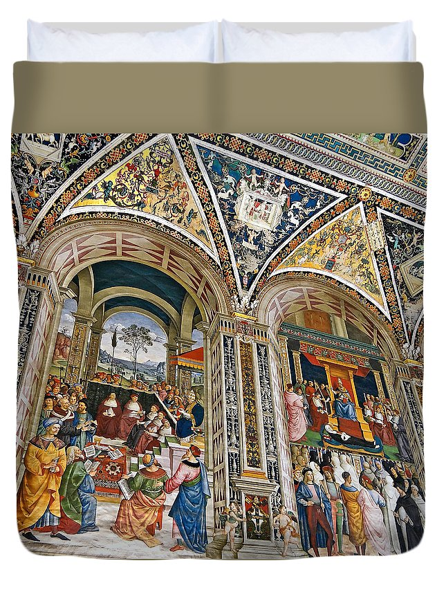 Piccolomini Library Duvet Cover featuring the photograph A Piece Of The Piccolomino by Ira Shander