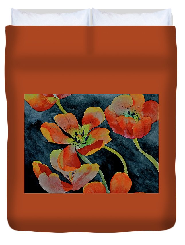 Tulips Duvet Cover featuring the painting A Place To Start by Beverley Harper Tinsley