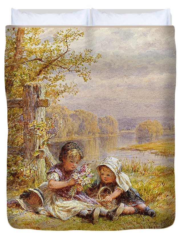 Children; Young; Girls; Picking; Gathering; Wild Flowers; Bouquet; Sisters; Siblings; Seated; Victorian; Landscape; Countryside; Rural; Lake; Basket; Bonnet; Hairnet; Flower Arrangement; Female; Present; Grass; Victorian Costume; Leisure Duvet Cover featuring the painting A Posy For Mother by William Stephen Coleman