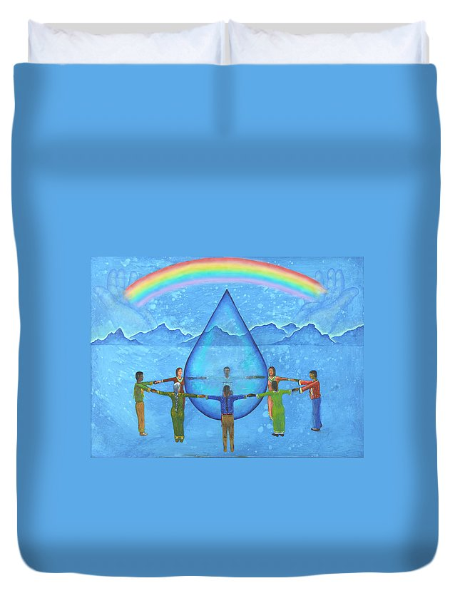 Native American Duvet Cover featuring the painting A Prayer For Water by Kevin Chasing Wolf Hutchins