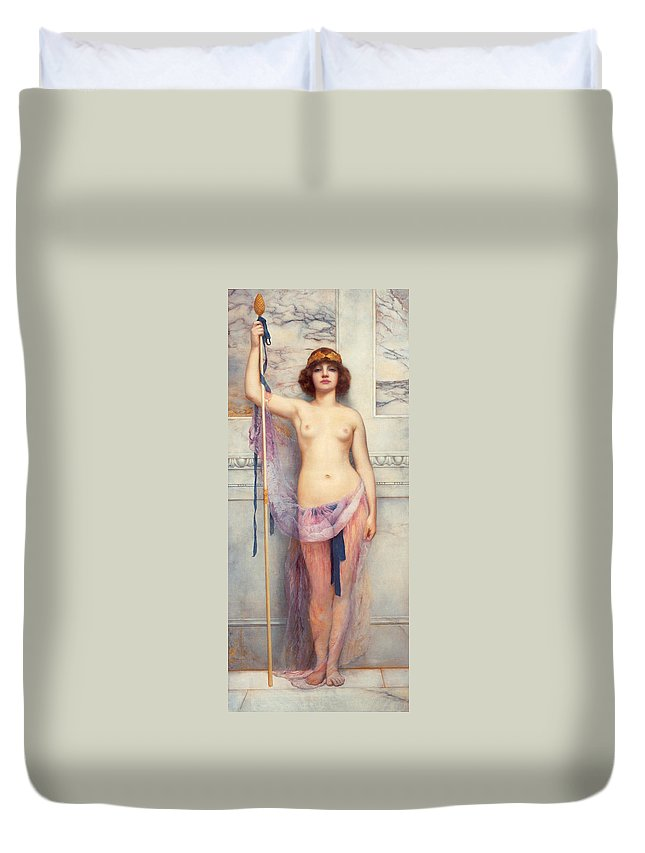 John Williams Godward Duvet Cover featuring the digital art A Priestess by John Williams Godward