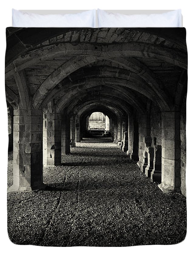 Priory Duvet Cover featuring the photograph A Priory Vault. by Dave Hare