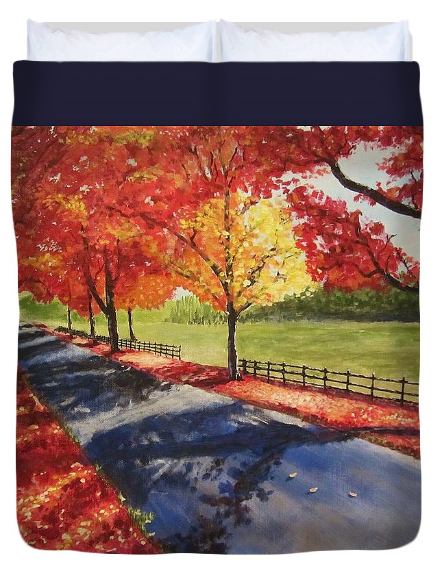 Fall Duvet Cover featuring the painting A Quiet Autumn Road by Gavin Kutil
