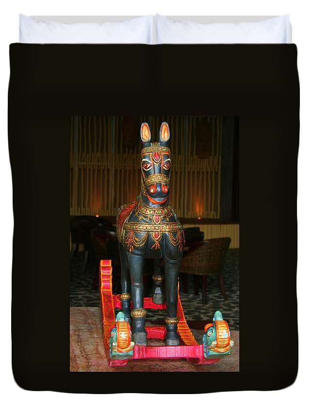 Rocking Duvet Cover featuring the photograph A Rocking Horse Of Many Colors by Laurel Talabere