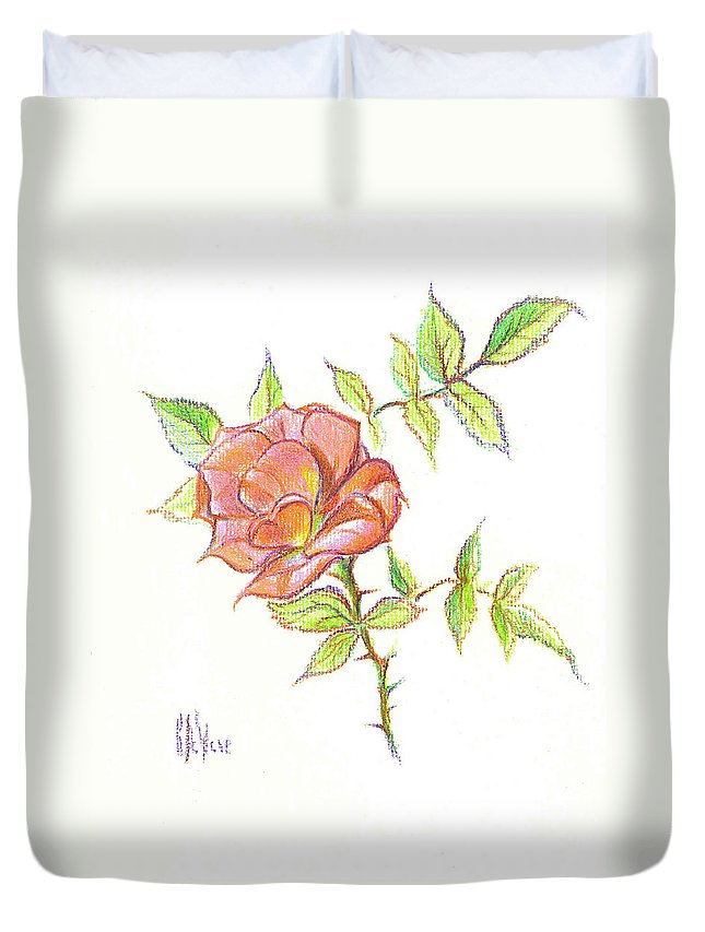 A Rose In Brigadoon Duvet Cover featuring the drawing A Rose In Brigadoon by Kip DeVore