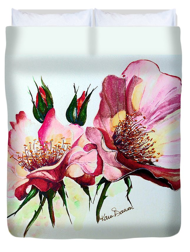 Flower Painting Duvet Cover featuring the painting A Rose Is A Rose by Karin Dawn Kelshall- Best