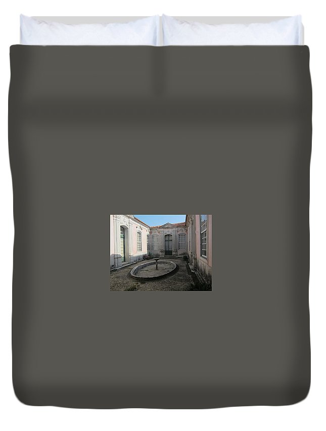 Queluz Palace Duvet Cover featuring the photograph A Royal Courtyard by Teresa Ruiz