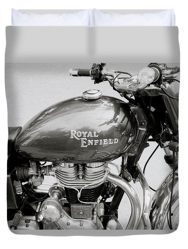 Motorbike Duvet Cover featuring the photograph A Royal Enfield Motorbike by Shaun Higson