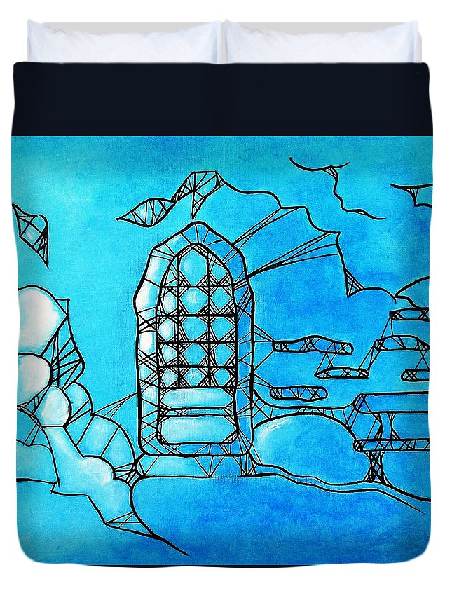 Landscape Duvet Cover featuring the painting A Secluded Place by Gloria Dietz-Kiebron