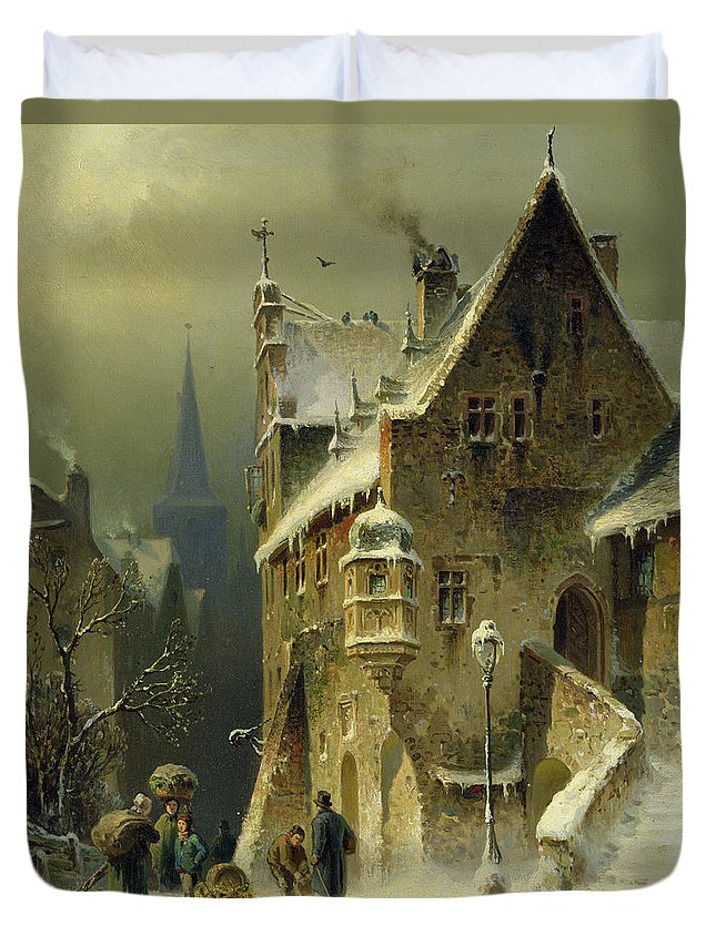 Schlieker Duvet Cover featuring the painting A Small Town In The Rhine by August Schlieker