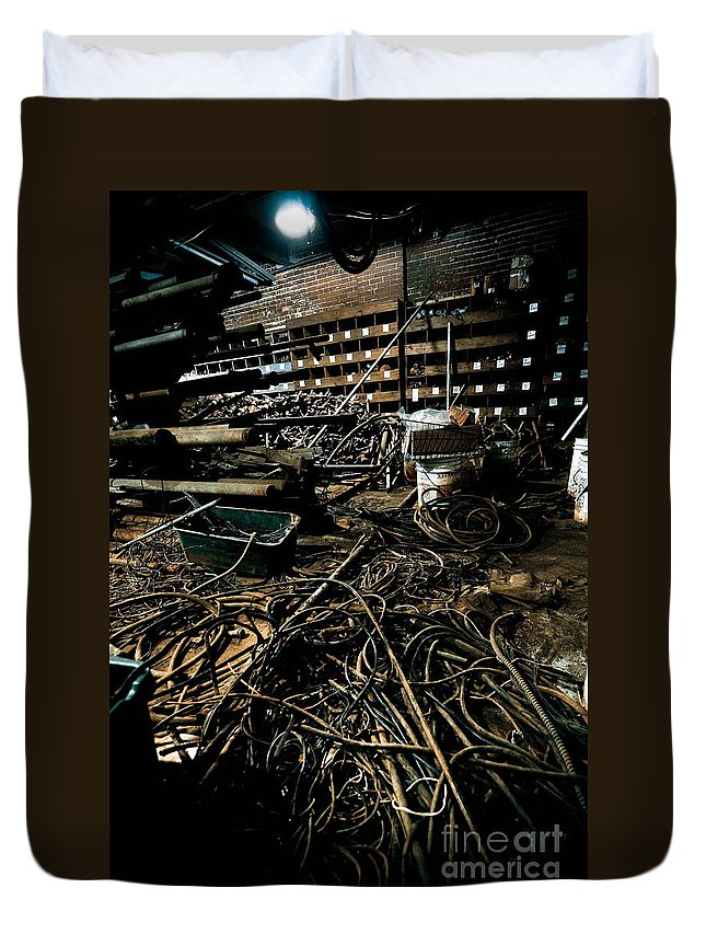 Abandoned Duvet Cover featuring the photograph A Snake Pit Of Wires by Amy Cicconi